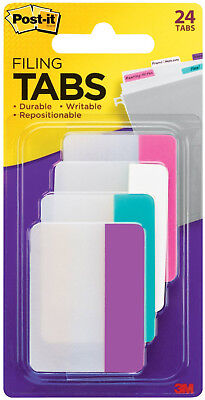 3m Post-it Tabs 2 X 1.5 Durable Writable Repositionable 4 Pastel Colors 24pc