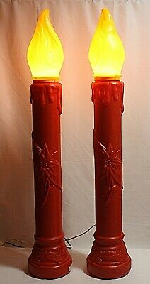 Vintage 1969 EMPIRE~SET OF 2~Holly Decorated Blow Mold Candles~Pristine!