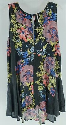 Free People womens size L large tunic floral dress flowy swing sleeveless short