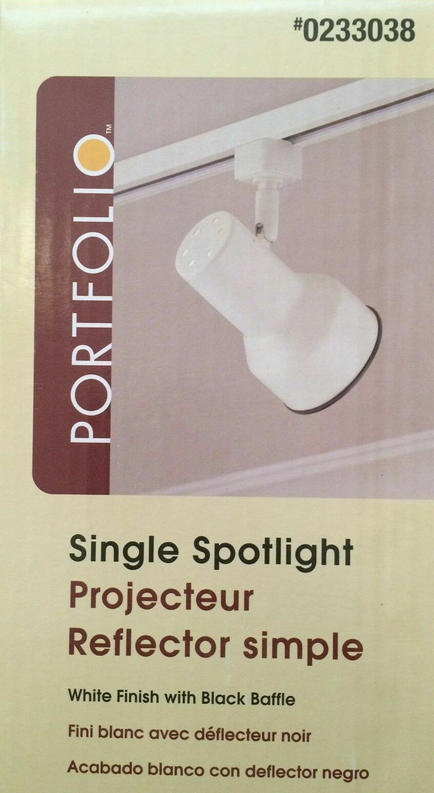 PORTFOLIO Single Spotlight for Track Lighting - White w/Blac