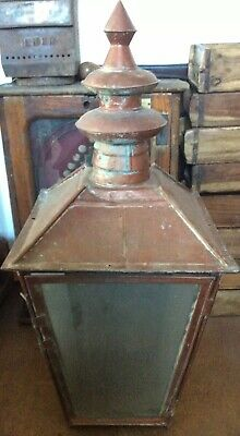 LARGE OLD COPPER VICTORIAN GAS STREET LAMP TOP