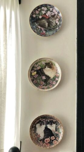 "3 Lesley Anne Ivory Cat Plates Among the Flowers 1996 Chintz TABITHA 8"" Danbury"