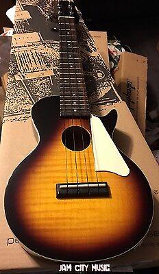 Epiphone Les Paul Ukulele Acoustic/ Electric Vintage Sunburst W Soft Case Nylon