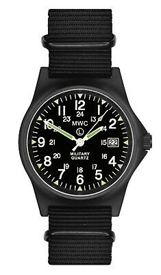 MWC G10LM1224 PVD Military Quartz Watch  50m 12/24hr Dial Date Window Luminova