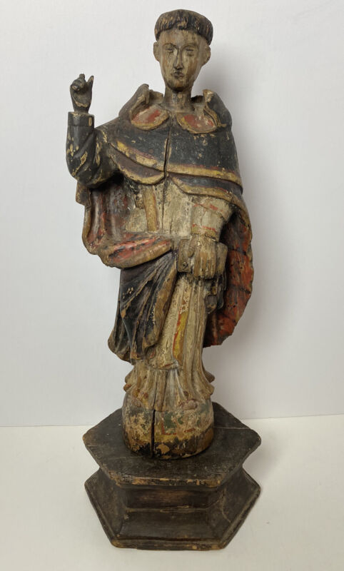 Philippine Santo 19th Century Wooden Monk On Pedestal