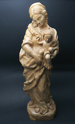Mary with child on base Hand Carved Wooden Figure, Ca 67 cm Wood Nature