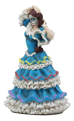 Halloween In Mexico Day Of The Dead (DOD Day of the Dead Mexican Halloween Lady Dancer in Blue Skirt Dress Figurine)