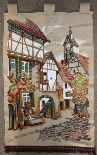 European Village Hand Painted Crewel Embroidery Wall Hanging Church House Street