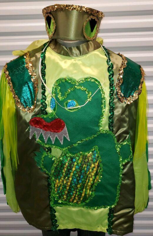 Vtg New Orleans Mardi Gras parade krewe costume alligator bacchus bacchagator