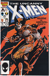 Uncanny-X-Men-212-NM-NM-Wolverine-vs-Sabretooth-1986-Marvel-FREE-USA-SHIP