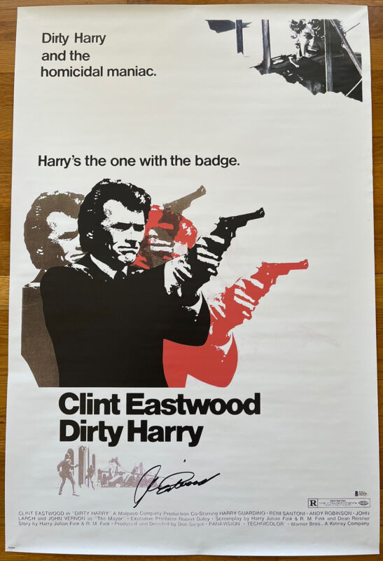 CLINT EASTWOOD SIGNED DIRTY HARRY 24x36 MOVIE POSTER BECKETT BAS LOA #A67470