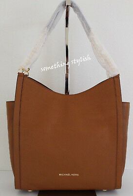 NWT Michael Kors Newbury Medium Chain Tote Leather Shoulder Bag Acorn Brown