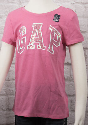 NWT Girls GAP Kids Sequin Logo T Shirt Pink - 338990