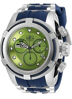 Invicta 52mm Bolt Zeus NFL SEATTLE SEAHAWKS Chrono Silicone Strap Watch 30251