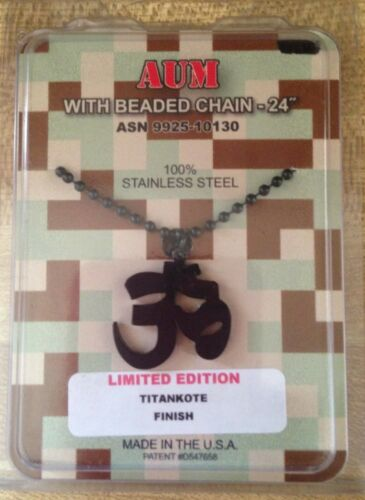 GI Jewelry US Military BLACK AUM Titan-Kote Necklace HINDU JAIN BUDDHIST New