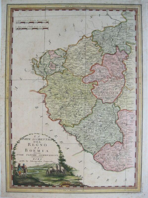 Original 1796 Cassini Map KINGDOM OF BOHEMIA Western Part Karlovy Vary Prague