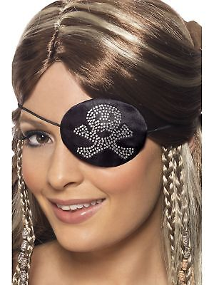 Deluxe Pirate Wench Kostüme (Smiffy's Deluxe Ladies Diamante Buccaneer Pirate Wench Fancy Dress Eye Patch)