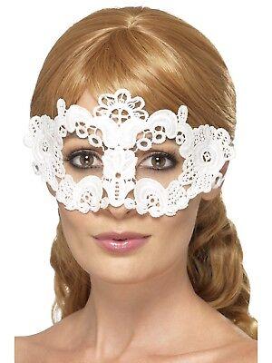 Spitze Bestickt Filigran Blumenmuster Augenmaske Weiß Maskenball Kostüm