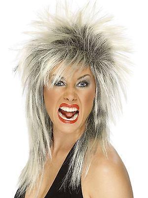 Blond Mullet Wig (Womens Punk Rocker Wig Spiky Blonde Black Hair 80s Diva Mullet Adult Costume)