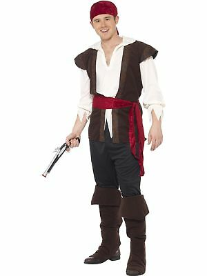 Mens Sea Captain Halloween Costume (Smiffys Pirate Deck Mate Captain Sea Ship Adult Mens Halloween Costume)