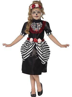 Sugar Skull Day of Dead Girls Childs Kids Halloween Fancy Dress Costume - Sugar Skull Kid Kostüm