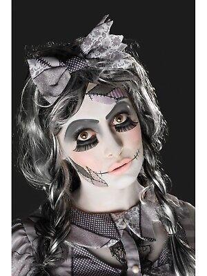 Gebbrochen Puppe Make-Up Set Beschädigt Wimpern Tätowierung Halloween Zubehör ()