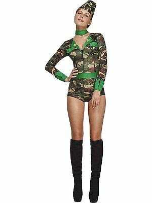 Womens Sexy Army Costume Camo Military Uniform Outfit Fancy Dress Romper Adult