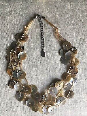 New, David Elizabeth Jewelry, Button Shell Necklace w/ Earrings, Natural (Shell Necklace And Earrings)