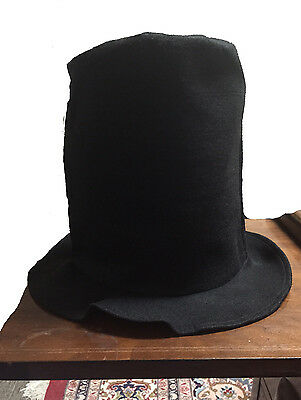 NEW BLACK ABE ABRAHAM LINCOLN COSTUME TALL STOVE PIPE TOP HAT Collapsible