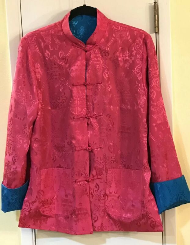 Women's Reversible Jacket - Hot Pink & Turquoise -Size L -Frog Closures -Pockets
