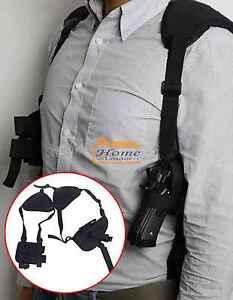 Military Tactical Shoulder Pistol Gun Holster Magazine Pouch Bag Black Tool