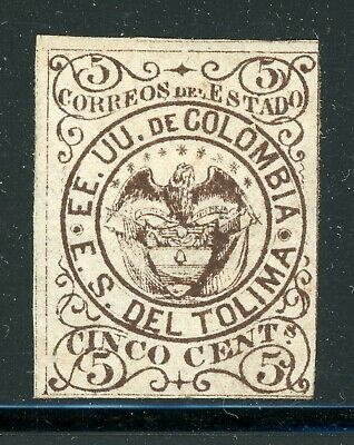 TOLIMA Early MH Selections: Scott #9 5c Deep Brown Arms (1871) CV$4+