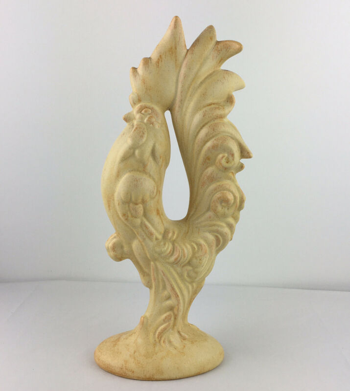 """VTG Ceramic Figure Rooster Chicken Country Farm Art 12"""" Cream Variegated"""