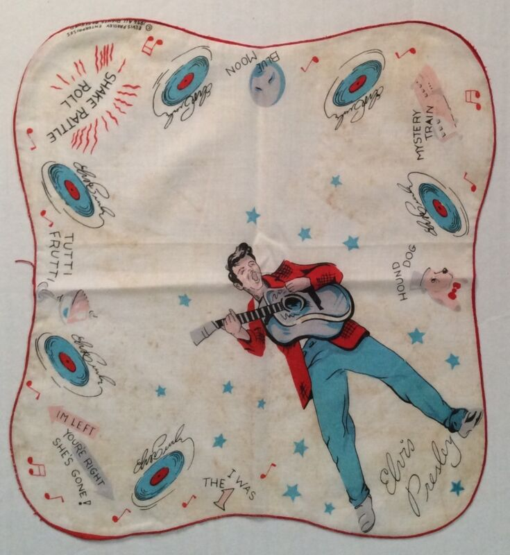 Elvis Presley - Handkerchief - 1956 - EPE - Red & Blue with Red Border