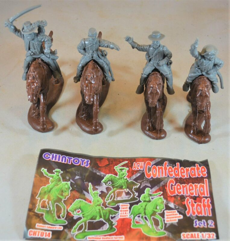 Chintoys Civil War Confederate Generals on Horseback Set 2 Gray Toy Soldiers