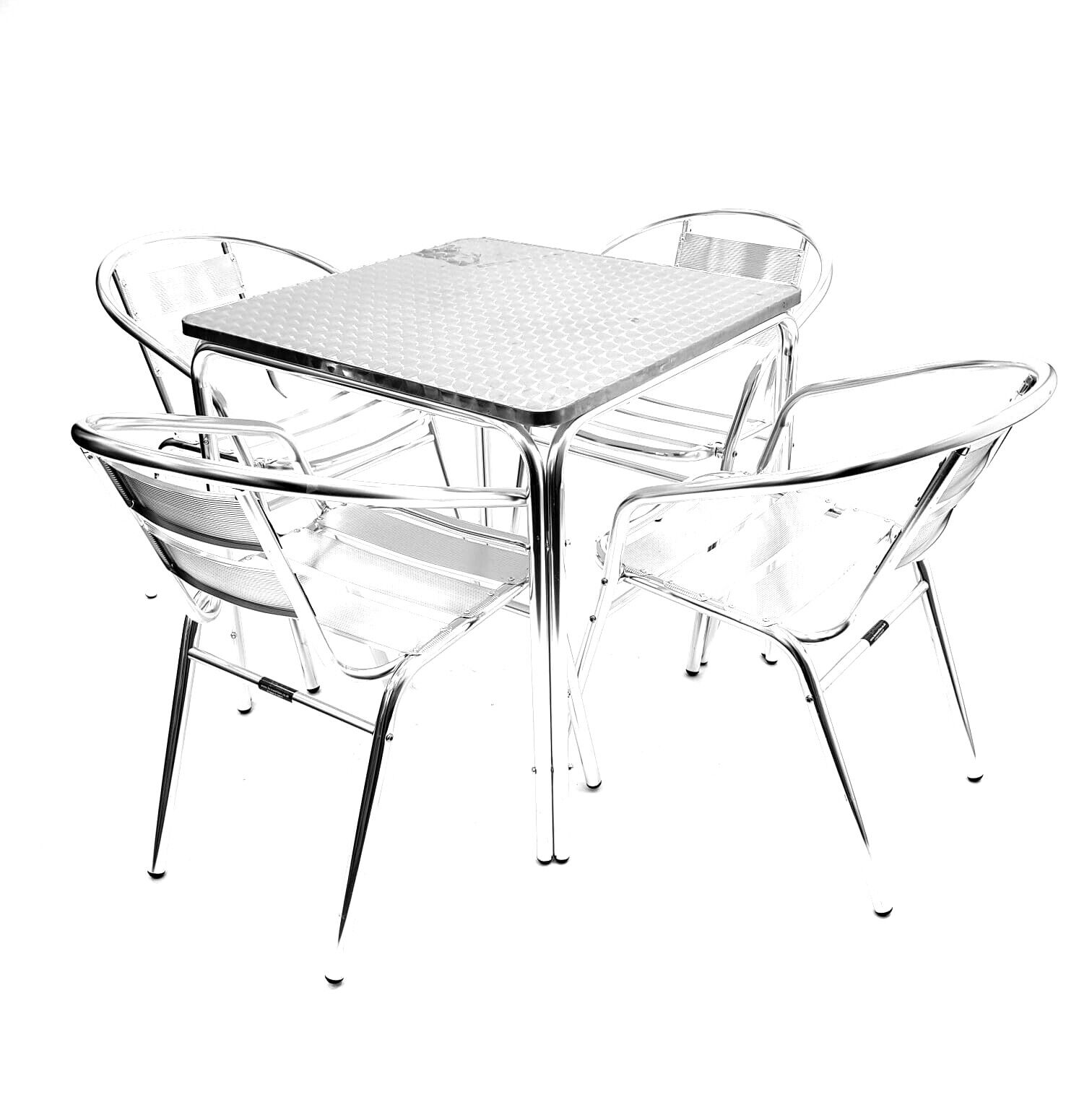 Garden Furniture - Garden Furniture 4 x ALUMINIUM Chairs & SQUARE Table SET ,Patio Sets, Decking