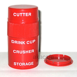 4 in 1 Tablet PILL CUTTER Splitter CRUSHER STORAGE CUP
