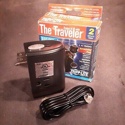 Laptop Surge Protector Tripp Lite Traveler Retractable Plug 2 plugs 2 phone -