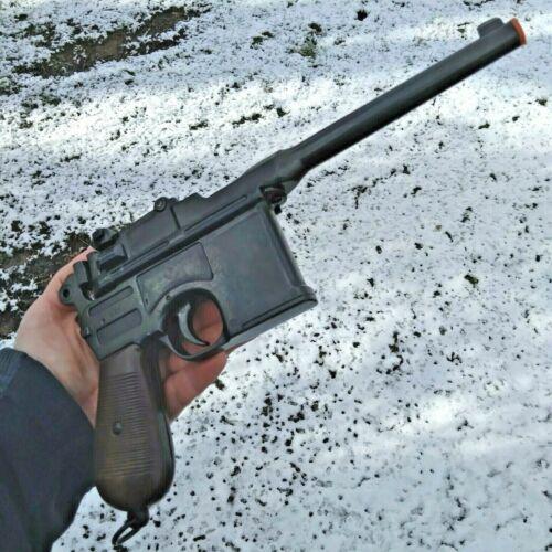 Denix 1896 Automatic Broom Handle Pistol Replica Antiqued Barrel Delrin Grips
