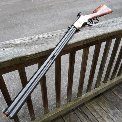 """Denix Old West Lever Action Repeating Rifle Replica Brass Frame Wood Stock 43"""""""