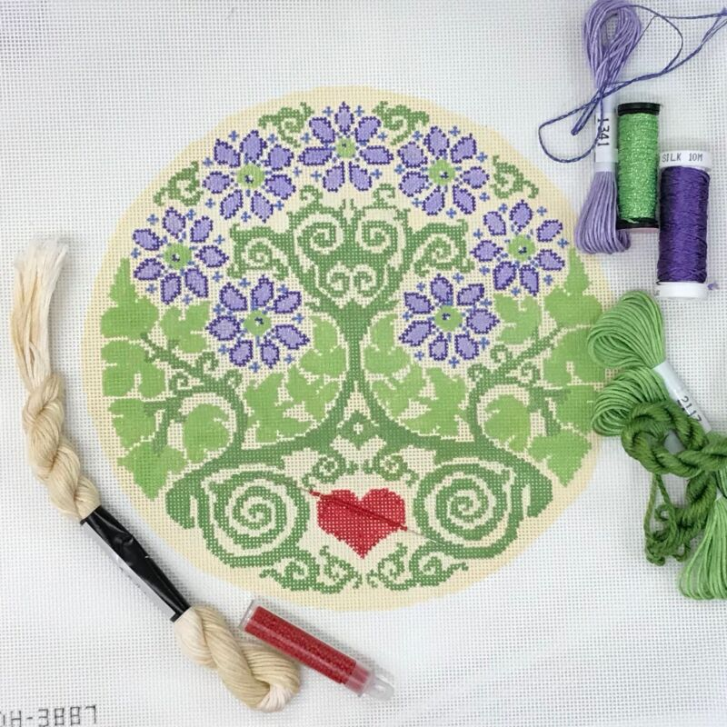 Dream House Hand painted Needlepoint Kit Canvas Tree of Life round modern
