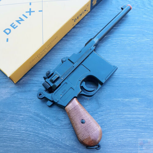 Denix Broom Handled Mauser Gun Simulated Firing and Loading Wood Grips Metal