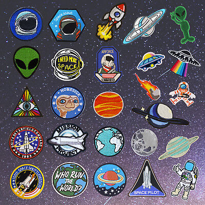 Outer Space Embroidery Sew On Iron On Patch Badge Fabric Applique Craft - Space Crafts