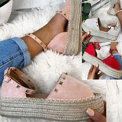 LADIES WOMENS FLATFORM SUMMER ANKLE STRAP ESPADRILLES STUDS LOW WEDGE SANDALS