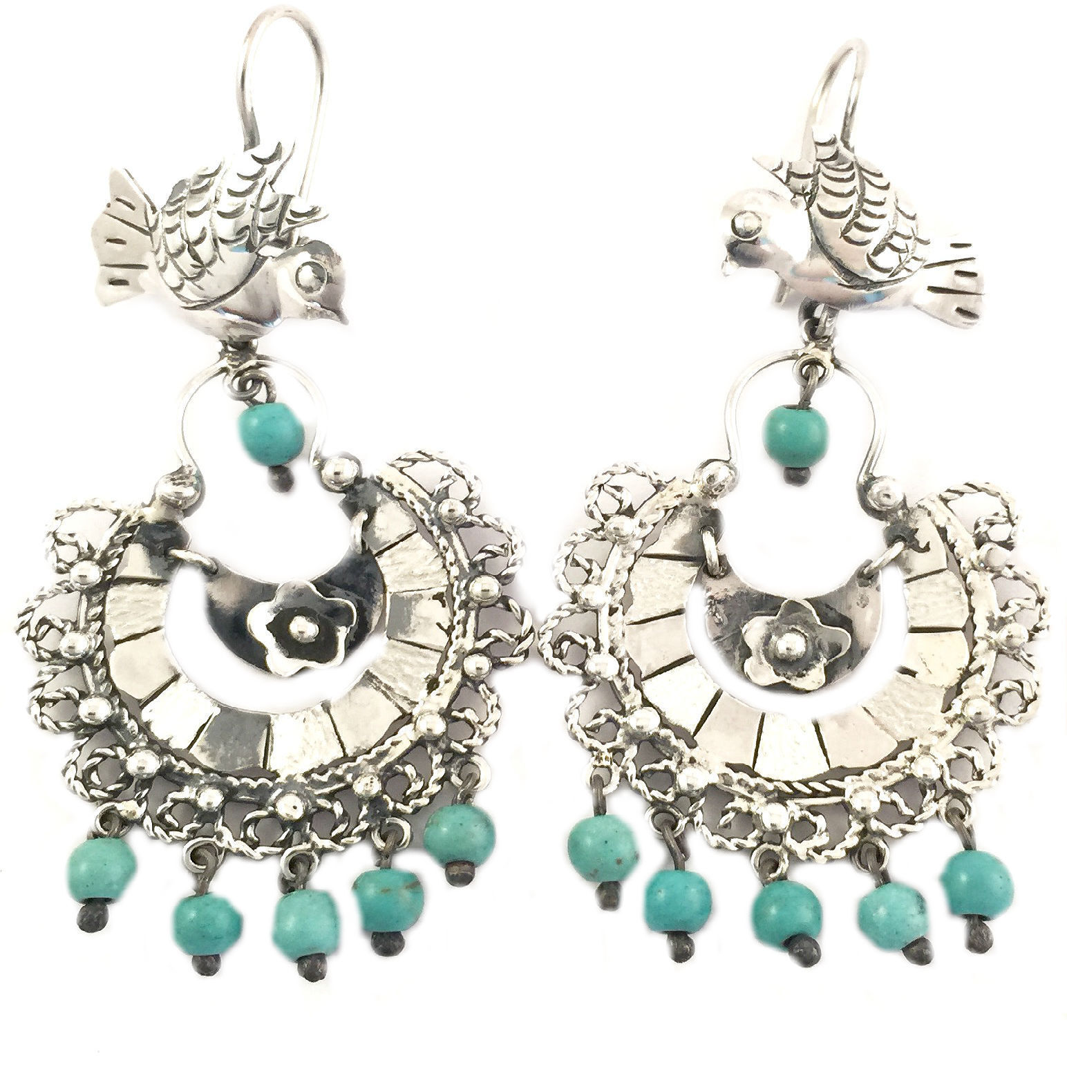 20c44bf00ba5 Details about FRIDA KAHLO STYLE TAXCO MEXICAN STERLING SILVER TURQUOISE  BIRD EARRINGS MEXICO