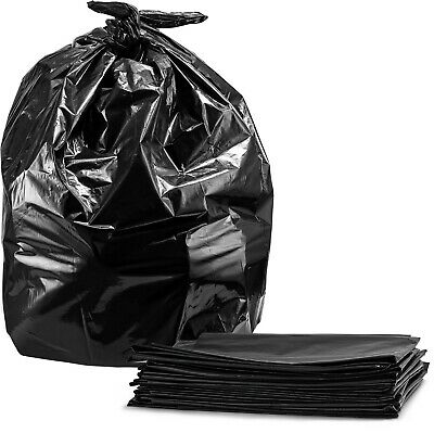 Trash Bags, For 55 Gallon, (50 Case w/Ties) Large Black Garbage Bags