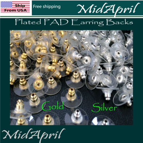 Plated PAD Earring Backs  Ear Post Stopper Nuts gold silver  US seller