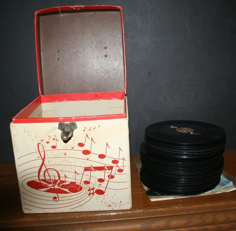 1961 Anville Platter-pak Record Carrying Case & 49 45-RPM Records AMBERG File Co