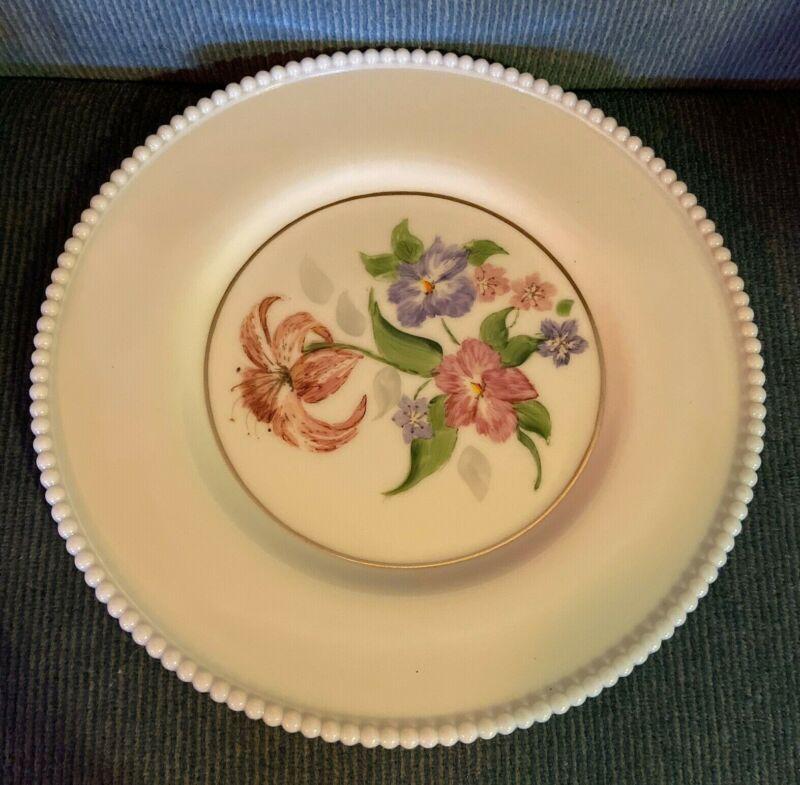 "Westmoreland Milk Glass 10 1/2"" Beaded Edge Dinner Plate with Flowers"