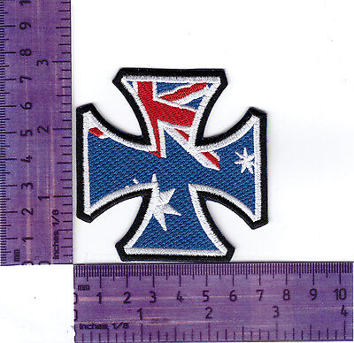 Australian Maltese Cross Bikers Embroidered Vest Or Jacket Badge Cloth Patch